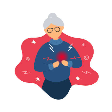 Old woman with heart pain. Flat modern trendy style.Vector illustration character icon. Isolated of white background. Heart attack concept.