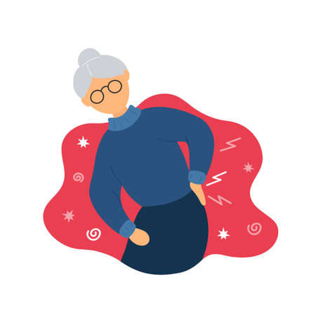 Old woman with backache problems. Flat modern trendy style. Vector illustration character icon. Isolated on white background. Pain in back, ache, osteoporosis, aging concept.