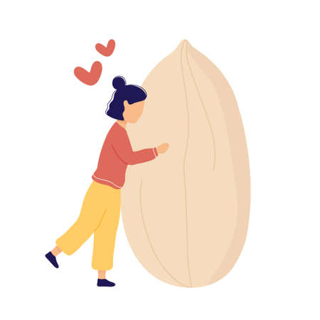 Girl hugging huge peeled peanut with hearts above. Flat modern trendy style.Vector illustration character icon. Isolated on white background.