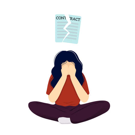 Young woman in depression after dismissal sitting crosslegged with teared contract over her head and covering her face with hands. Flat modern trendy style.Vector illustration character icon.