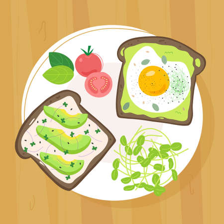 Two toasts with fried egg, avocado, cherry tomato and microgreens on plate. Flat trendy hand drawn style. Isolated on white background.