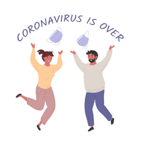 """Young man and woman tossing their medical masks and jumping for joy. """"Coronavirus is over"""" lettering. Vector hand drawn character illustration. Pandemic end concept."""