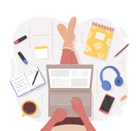 Top view of woman sitting on floor crosslegged with laptop on the lap surrounded by stationery, gadgets, cup of coffee. Vector hand drawn character illustration. Working from home, wemote job concept.