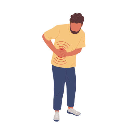 Sick man having flank pain. Flat trendy hand drawn character vector illustration. Isolated on white background. Vector Illustration