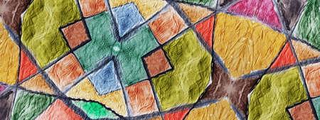 Batik Zigzags. Mosaic Texture. Geo Tile. Korean Patchwork. Warm Colors. Autumn Background. Abstract Motif. Multicolored Ethnic Print. Watercolor Hand Drawn. Multicolor Textile Print. Boho Ceramic Tile Stock Photo