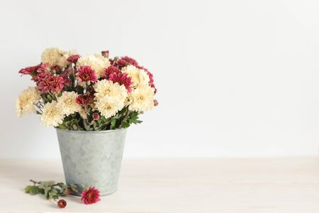 Romantic bouquet of cream and pink chrysanthemums in a vintage pot. Background or postcard. Place for text.  Imagens