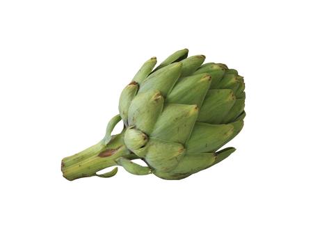 Vegetable ripe artichoke on isolated white background.