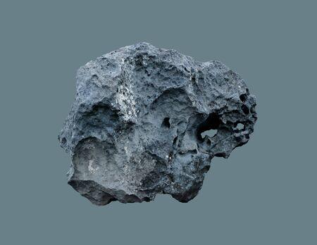 Meteorito de piedra del espacio, sobre un fondo aislado.