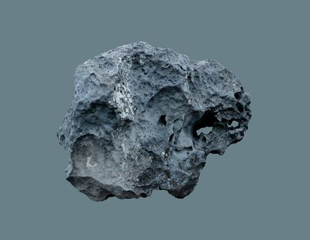 Stone meteorite from space, on an isolated background.