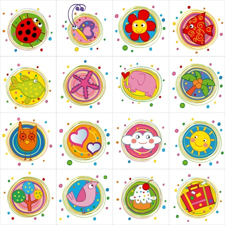 cute icons Stock Vector - 17273302