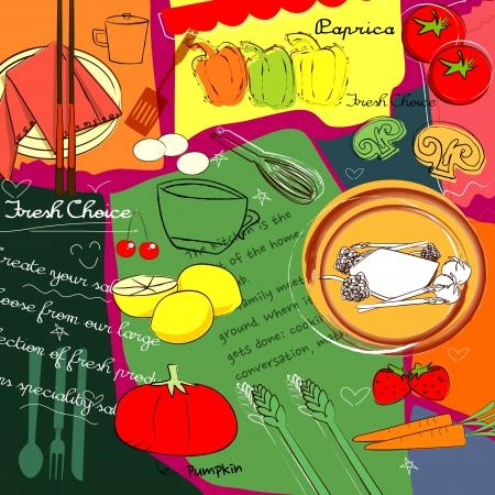 kuchnia: stylizacja żywności Ilustracja