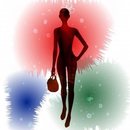 catwalk model: moda modello silhouettes Vettoriali