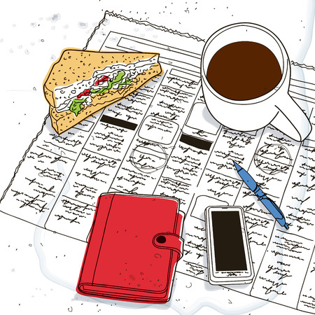 job hunting: Sandwich, phone, diary and cup of coffee on the newspaper Illustration