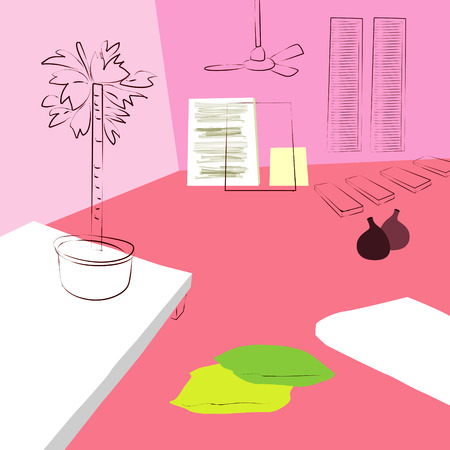 Pink Sofa And Green Chair In Living Room, Simple Interior Sketch ...