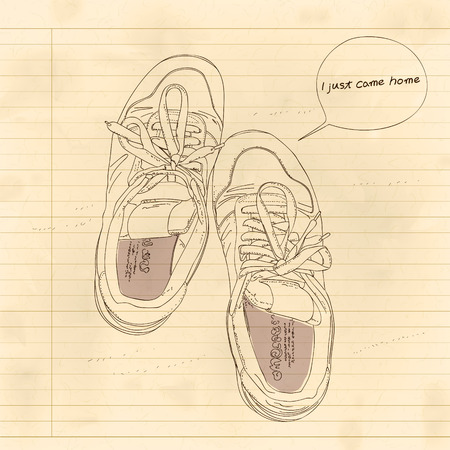 pm: shoe illustration with note i just come home
