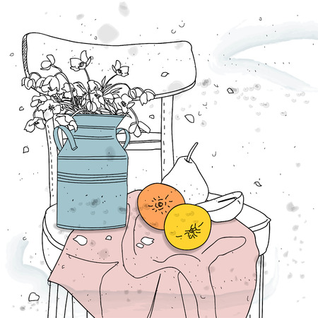 natura morta con fiori: natura morta con fiori su una sedia
