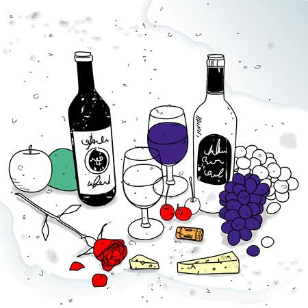 natura morta con fiori: ancora la vita con il vino Vettoriali