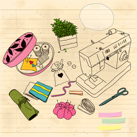 stitching: sewing machines, stitching, buttons, needles, sketch, arrangement, repair, vintage, Ribbon, vector
