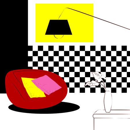 puffy: red puffy chairs and checkered wall interior