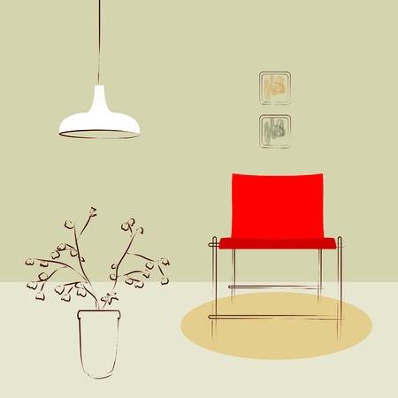 lighting fixtures: red side chair