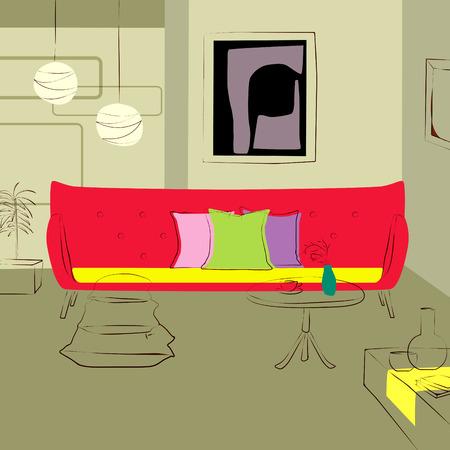 lighting fixtures: red sofa in living room