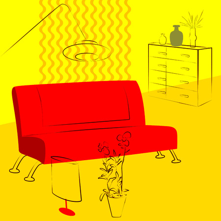 livingroom: yellow living room red sofa Illustration