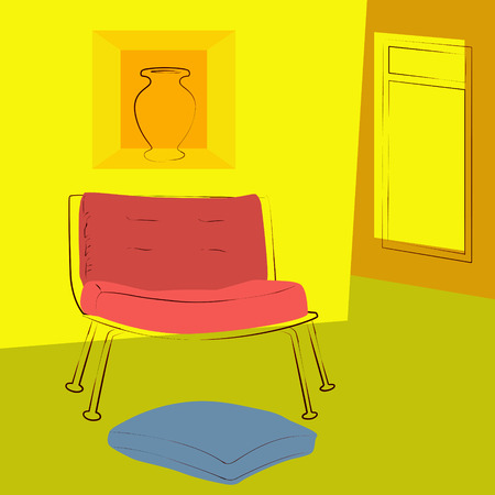 livingroom: yellow room illustration