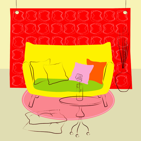 livingroom: yellow sofa living room Illustration