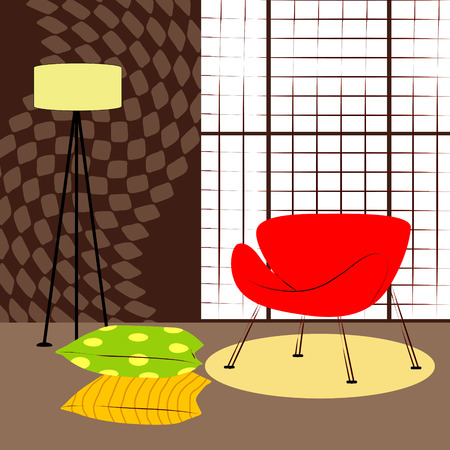 small room: room with small red chair