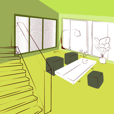 livingroom: green living room Illustration