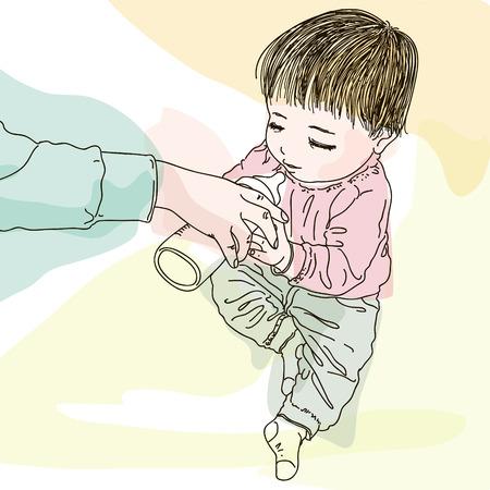 cuteness: pretty baby with milk bottle