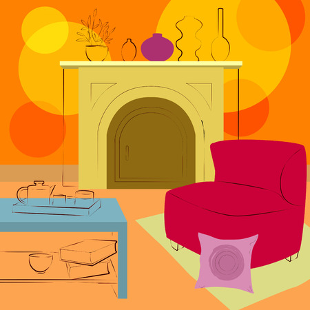 livingroom: room with fireplace Illustration