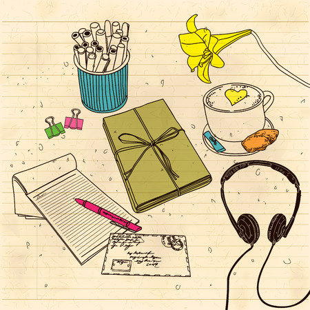 pm: A letter with the headphones still life