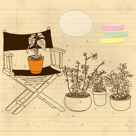 garden chair: chairs and some potted plants Illustration