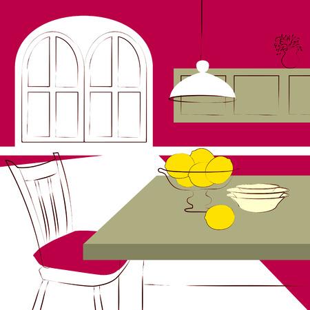 mesa de comedor: mesa de comedor con cocina