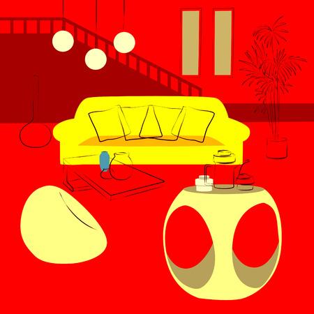 lighting fixtures: red living room Illustration
