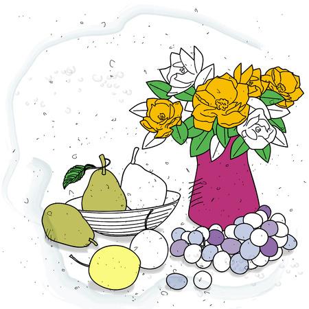 still: still life with fruit and vase