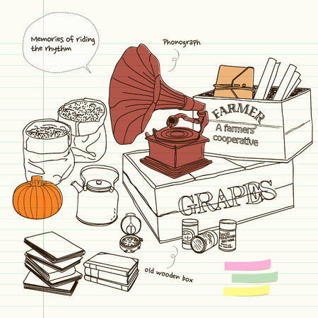 props: vintage props with phonograph Illustration