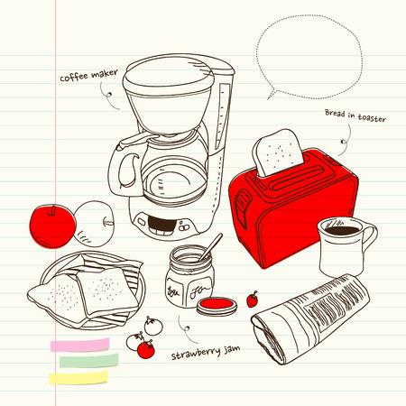 coffee maker: Bodeg�n con una cafetera y tostadora