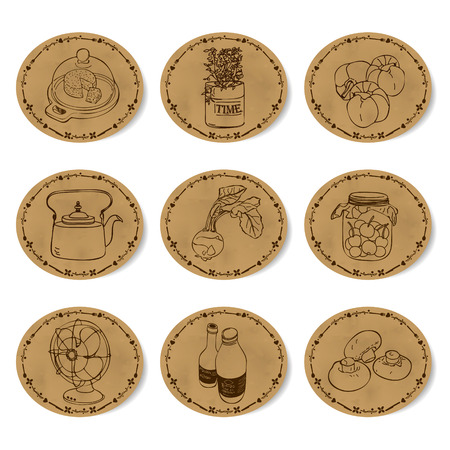 po: vintage labels with icons Illustration