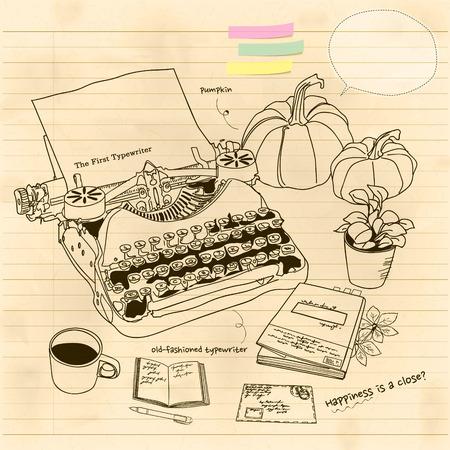handbooks: still life with a vintage typewriter Illustration