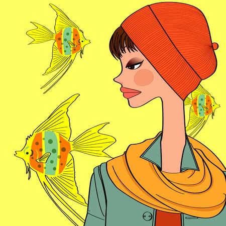 goldfish and girl 矢量图像