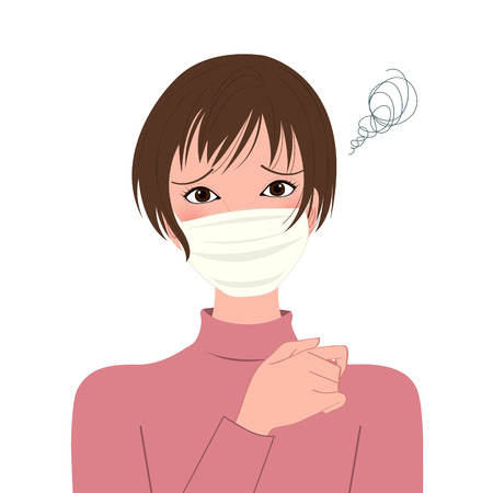 protective mask: sick woman  in a protective mask