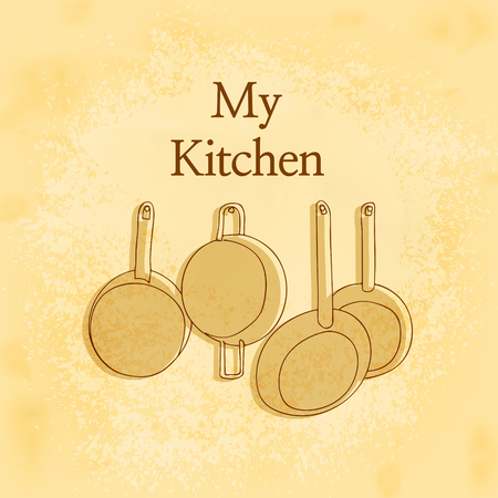 pans: Hanging Pots and Pans in Front of yellow wooden wall in kitchen