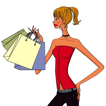stylish women: stylish women holding shopping bags