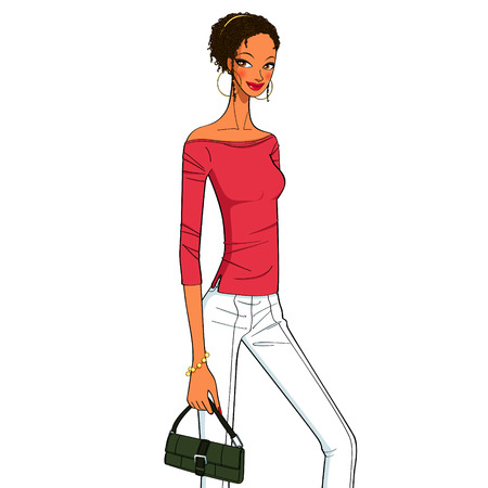 fashion shopping: cool perming hair style for style girl, beautiful young women with a fashionable handbag Illustration