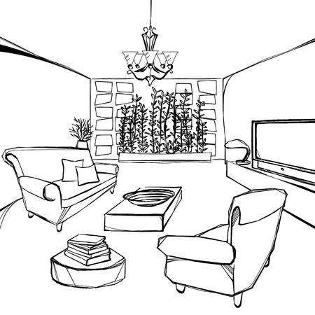una gran sala de estar boceto Ilustración de vector