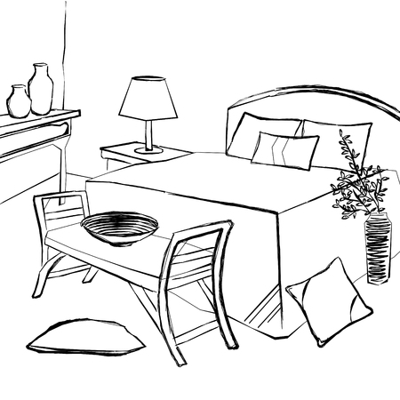 bedroom: bedroom Interior, vintage bedroom sketch