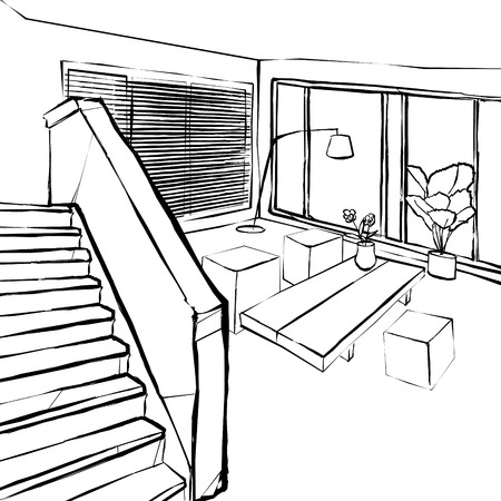 interior lighting: living room sketch, the stairs in the living room sketch