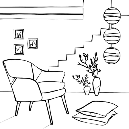 pink chair and lamp, simple interior sketch